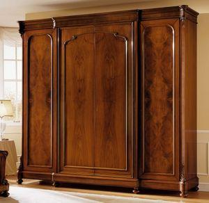 D'Este armoire porte en bois, Luxe armoire en noyer, avec 4 portes, finition à la cire