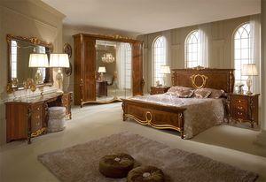 Donatello armoire avec 6 portes, Armoire avec style néoclassique, des sculptures et des incrustations artisanales