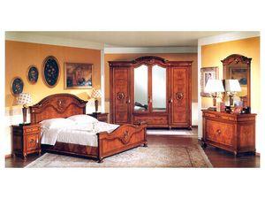 DUCALE DUCSP / Armoire à 4 portes, Armoire en bois avec des portes en miroir, pour chambre