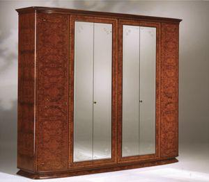 Flory armoire, Ash olived garde-robe avec 6 portes et miroirs