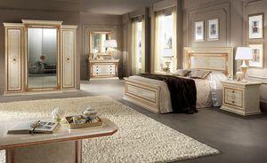 Leonardo garde-robe, Armoire spacieuse et fonctionnelle, 4 portes avec cadres dorés