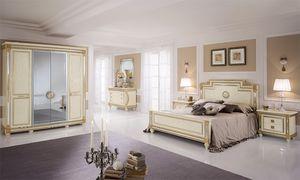Liberty armoire avec 4 portes, Armoire de style classique, portes centrales de miroir, la main décorations de feuilles d'or
