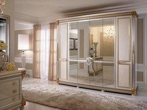 Liberty armoire avec 6 portes, Armoire dans un style classique, avec des décorations faites à la main, fabriqués en Italie