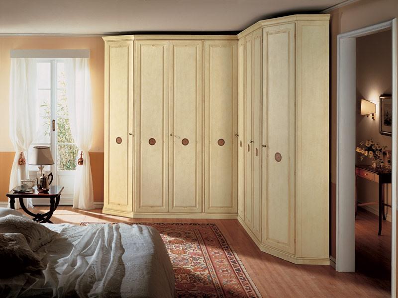 Olimpo Angular, Armoire d'angle en bois, 8 portes, adapté pour les chambres de style classique