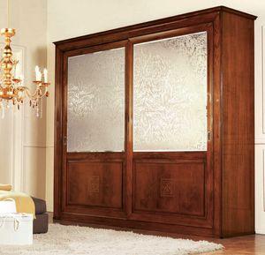 Olympia Armoire 2 portes avec sérigraphie, Garde-robe classique avec de la soie miroirs de satin projeté