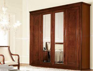 Olympia armoire 4 portes avec miroir, Garde-robe classique avec des miroirs, avec tiroirs internes