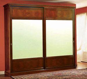 Opera armoire portes coulissantes, Armoire classique à portes coulissantes en bois de noyer