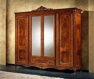P 708, Armoire classique avec 2 miroirs, 4 portes et 1 tiroir