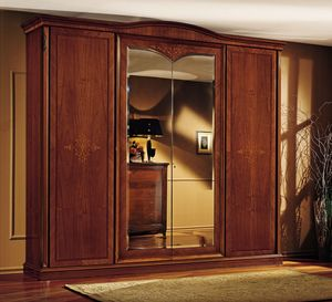 Praga garde-robe, Garde-robe classique, en noyer, avec 4 portes, pour chambre