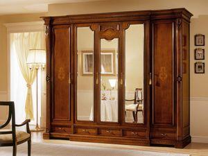 REGINA NOCE / armoire � 5 portes (3 portes � miroir), Garde-robe de luxe avec 5 portes, 3 avec miroir, d'h�tels