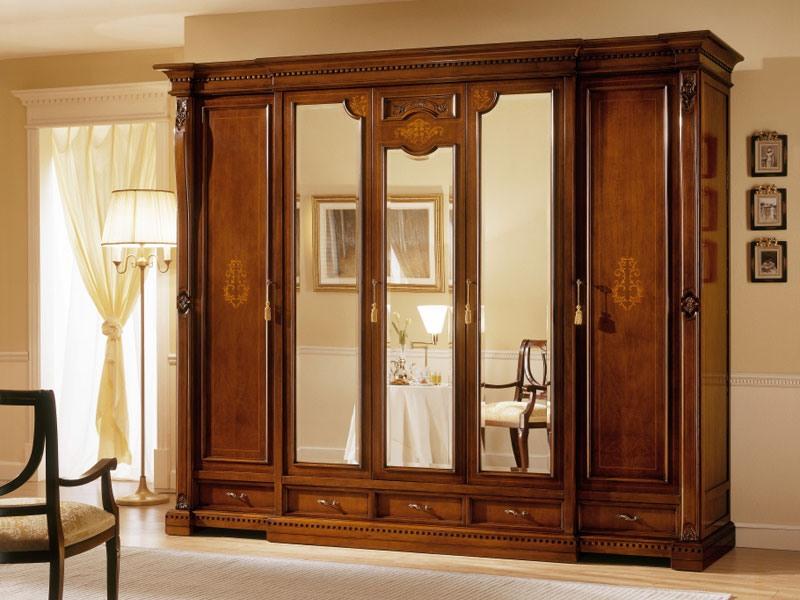 REGINA NOCE / armoire à 5 portes (3 portes à miroir), Garde-robe de luxe avec 5 portes, 3 avec miroir, d'hôtels
