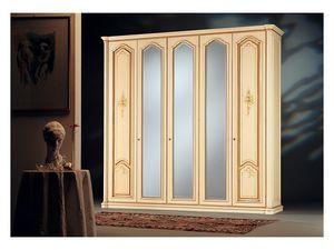 Rialto, Armoire de style antique, 3 portes miroir, 2 portes en bois décoré à la main