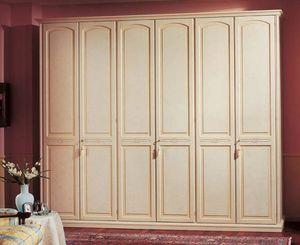 Sirio armoire, Armoire en bois lambrissé, 6 portes, des hôtels de luxe