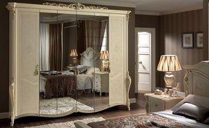 Tiziano garde-robe, Classique armoire 6 portes, avec miroir, idéal pour les chambres de luxe