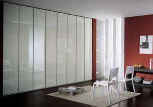 Wardrobe 4, Armoire contemporaine, portes en finition laquée blanc, avec un design contemporain