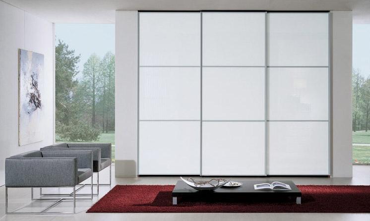 Wardrobe 90, Armoire à portes coulissantes, verre laqué blanc, moderne et design essentiel
