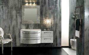 Glamour Argento AM44, Élégante armoire de salle de bain, finition argentée