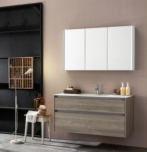 Kami comp.05, Armoire de salle de bain modulable avec miroir
