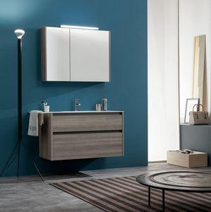 Kami comp.11, Meuble pour salle de bain avec miroir de rangement