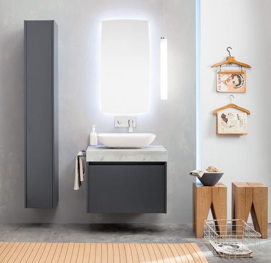 Kami comp.12, Armoire de salle de bain modulaire avec colonne de rangement