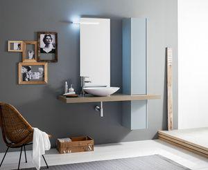 Kami comp.19, Ensemble de salle de bain avec colonne et lavabo à poser