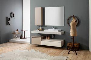 Kami comp.20, Meuble pour salle de bain mural avec colonne de rangement