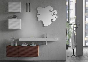 Plane 3D 08, Meubles de salle de bain avec armoires suspendues et miroir