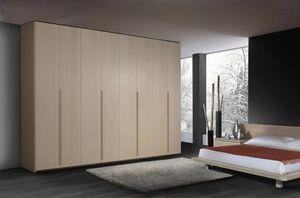 Armoire 22, Armoire en bois contemporain, 6 portes battantes, pour les chambres