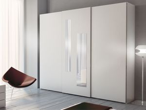 Armoire Zen 05, Armoire avec 2 miroirs verticaux sur la porte centrale
