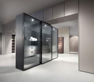 ATLANTE WIND comp.01, Cabinet / vitrine avec portes coulissantes, en aluminium et cristal