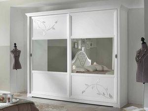 Camelia Armoire, Armoire blanche avec portes coulissantes à miroir