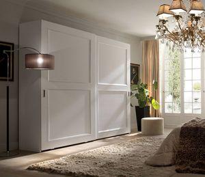Liò armoire laquée blanche, Armoire à portes coulissantes, laqué blanc