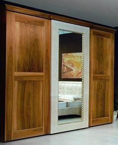 New '800 garde-robe, Armoire avec porte miroir, avec des décorations en cuir