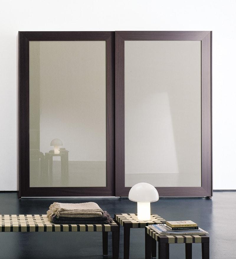 PASSE-PARTOUT, Armoire pour la chambre, les portes avec miroir encadré