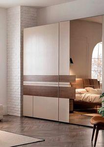 Aurea, Armoire à portes coulissantes avec inserts en bois