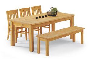 Collection jambes banc, Table de table entièrement en pin, pour maisons en rondins