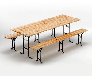 Meubles de brasserie table et bancs en bois - SB223LEG, Bancs et table en épicéa, verrouillable et stable