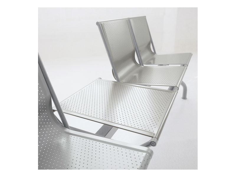 Pitagora bench 2, Banc contemporain en acier perforé, pour salles d'attente