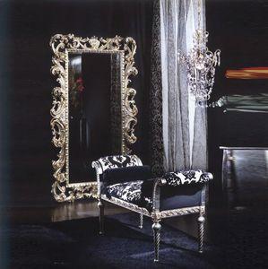 701 BENCH, Banc rembourré avec des rouleaux, le style de luxe classique