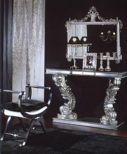 703 BENCH, Banc rembourré avec garniture d'argent, le style de luxe classique