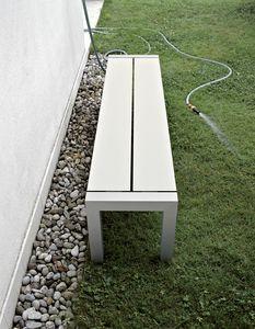 Sushi Bench, Banc en aluminium avec lattes en stratifié, pour extérieur