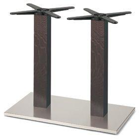 Firenze 9217, Base de table pour les bars, base en acier et 2 colonnes en hêtre massif