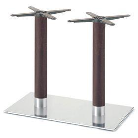 Firenze 9223, Base de table pour les bars, base en acier et 2 colonnes en hêtre massif