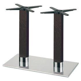 Firenze 9226, Base de table pour les bars, base en acier et 2 colonnes en hêtre massif