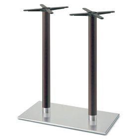 Firenze 9623, Base de table pour les bars, base en acier et 2 colonnes en hêtre massif