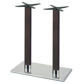 Firenze 9626, Base de table de bar, base en acier et 2 colonnes en hêtre massif