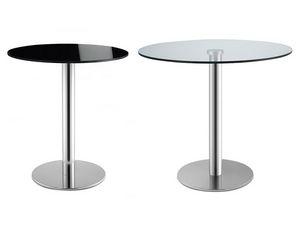 Tiffany Base - glass base, Table ronde pour les bars, en acier inoxydable, plateau en verre