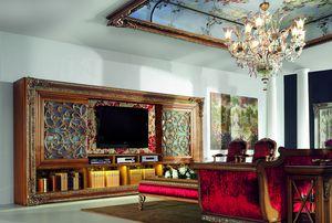 4093AB, Grande bibliothèque en bois avec meuble TV