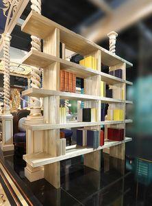 Bibliothèque, Bibliothèque en pin sablé, décorée d'or en poudre