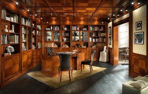 BUREAU, Bibliothèque avec boiseries et faux plafond, style classique